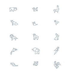 Line origami animals abstract polygon animals vector