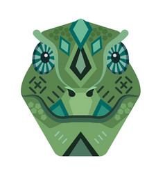 lizard head logo iguana decorative emblem vector image