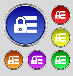 Lock login icon sign Round symbol on bright vector