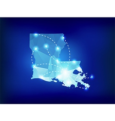 Louisiana state map polygonal with spotlights vector image