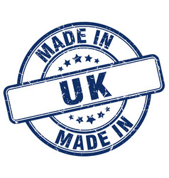 made in uk blue grunge round stamp vector image