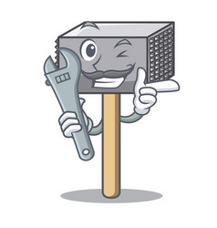 mechanic meat hammer utensil isolated on mascot vector image