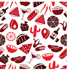 Mexican food theme set of icons seamless pattern vector