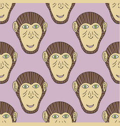 Monkey print chimpanzee seamless pattern vector