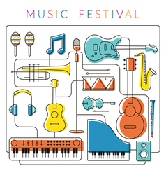 Music Instruments Objects Background vector image