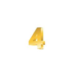 Number 4 3d template design vector