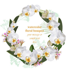 orchid flowers round wreath card decor frame vector image