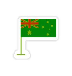 Paper sticker australian flag on white background vector