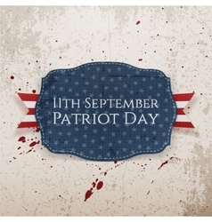Patriot Day - 11th September Tag with Ribbon vector