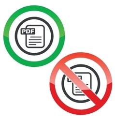 PDF file permission signs vector