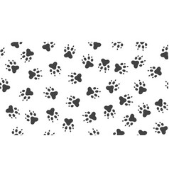 pet paw seamless pattern with flat icons vector image