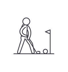 playing golf line icon concept playing golf vector image
