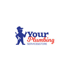 Plumbing logo with repairman holding wrench vector