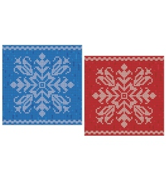 Red and blue stitch patterns with snowflakes vector
