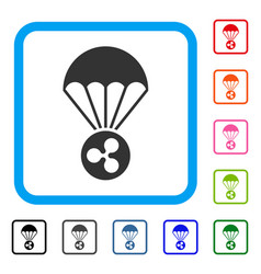 Ripple parachute framed icon vector