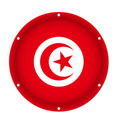 Round metallic flag of tunisia with screw holes vector