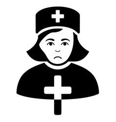 Sad catholic lady doctor black icon vector