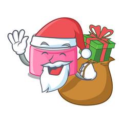 Santa with gift face cream in a cartoon jar vector