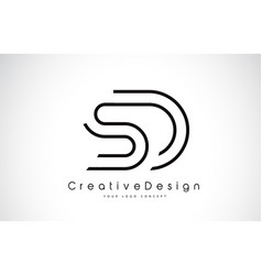 Sd s d letter logo design in black colors vector