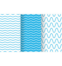separate waves wavy endless stripes patterns set vector image
