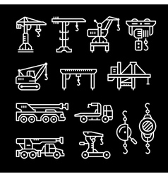 Set line icons of crane lifts winches vector image