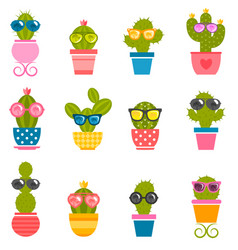 Set of cactuses with sunglasses isolated on white vector
