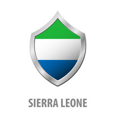 Sierra leone flag on metal shiny shield vector