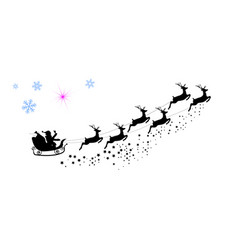 Silhouette santa claus riding on reindeer vector