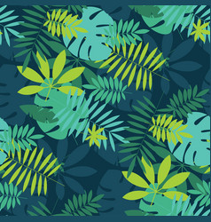 simple green tropical leaves design pattern vector image