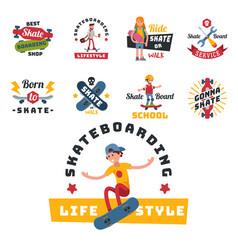 Skateboarders people tricks silhouettes sport vector