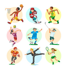 Sport people sportsmen woman and man flat fitness vector