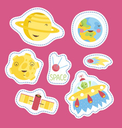 Stickers collection with space cartoons vector