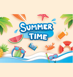 Summer time with paper cut symbol icon for vector