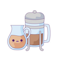 teapot and bottle with coffee kawaii style vector image
