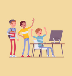 teens fun at computer vector image