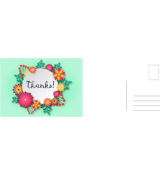 thanks card paper cut floral frame vector image