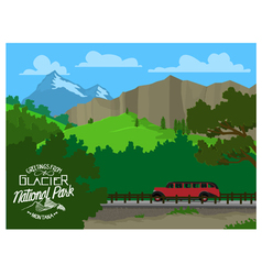 Touring Glacier National Park vector image