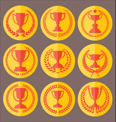 trophy and awards retro vintage collection 6 vector image