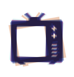Tv sign colorful icon shaked vector