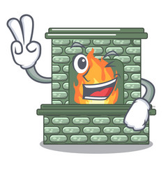 two finger cartoon a fireplace in the house vector image
