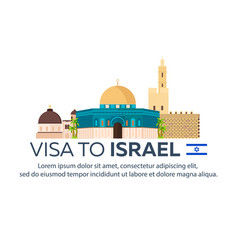 Visa to israel document for travel flat vector