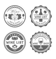 wine shop monochrome vintage round labels vector image