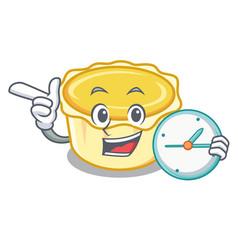 With clock egg tart character cartoon vector