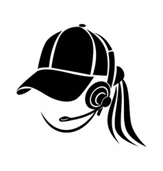 Woman consultant in headphones icon simple style vector