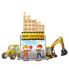 Workers and building under construction vector