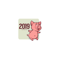 year new pig chinese happy sign decoration vector image