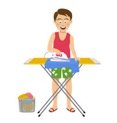 Young man ironing his clothes on ironing board vector