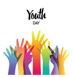 Youth day diverse teen hands greeting card vector