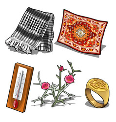 carpet scarf thermometer ring and flower vector image