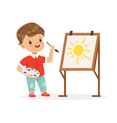 cute little boy painting sun on an easel kids vector image vector image
